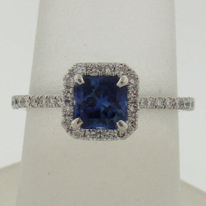 Amazing Asscher Cut Princess Shaped Sapphire and Diamond Halo Ring