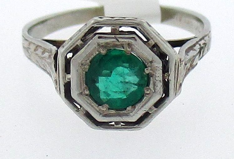 Antique Emerald Octagon Shaped Ring