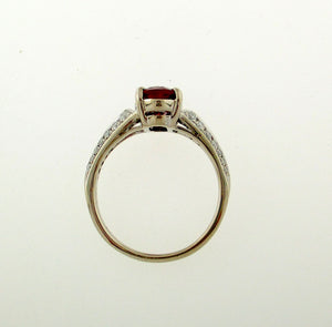 Vintage Style Burma Ruby and Diamond Ring in 18k White Gold