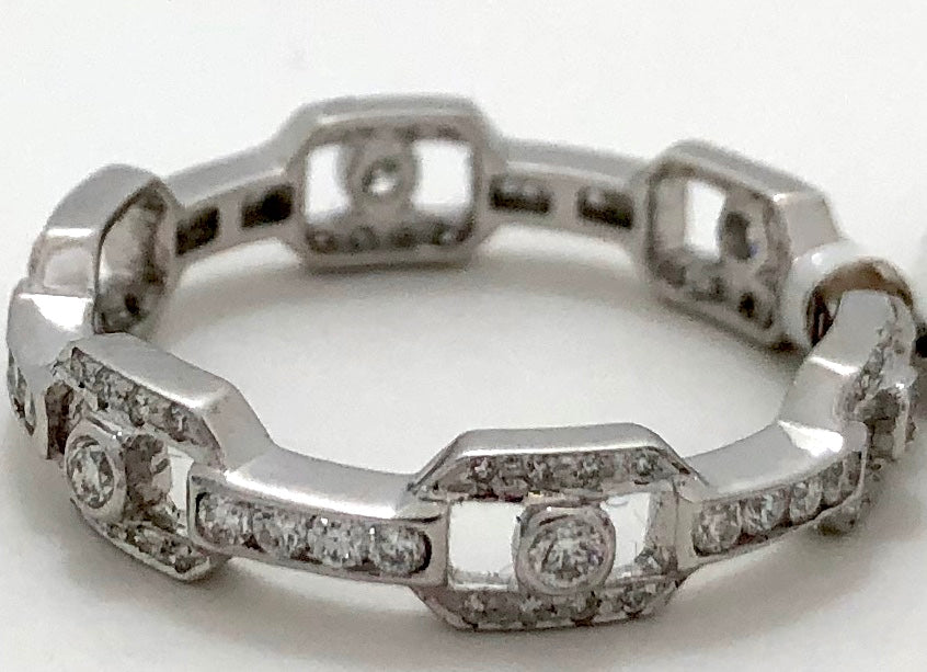 Diamond Link Style Eternity Stackable Ring
