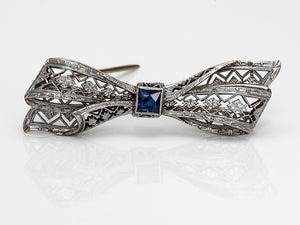 Antique Platinum French Cut Sapphire Bow Brooch
