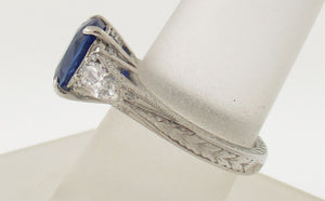 Handmade Platinum Sapphire and Diamond Ring