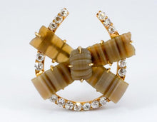 Load image into Gallery viewer, Antique Diamond Horseshoe and Chalcedony Bow Brooch