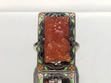Load image into Gallery viewer, Art Deco Sterling Silver Carved Amber and Enamel Ring With a Floral Motif