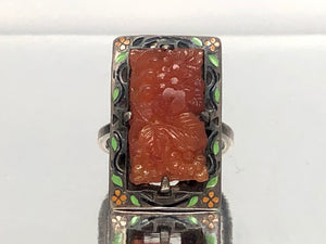 Art Deco Sterling Silver Carved Amber and Enamel Ring With a Floral Motif