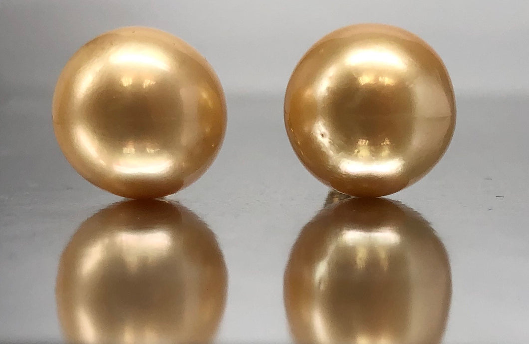 Spectacular Golden South Sea Pearl Stud Earrings