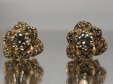 Load image into Gallery viewer, Pavè Diamond Flower Studs in Yellow Gold