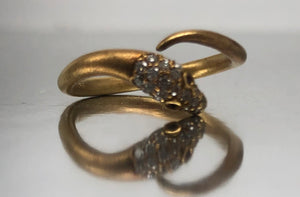 Dainty Snake Diamond Wrap Ring in Brushed Yellow Gold