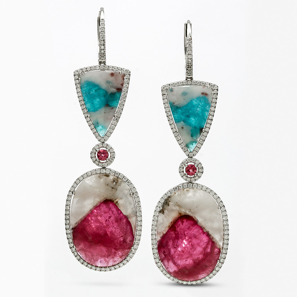 Outrageous Paraiba Tourmaline and Rubellite Drop Earrings