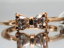 "Load image into Gallery viewer, Adorable Rose Gold Diamond ""Bow"" Ring"