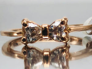 "Adorable Rose Gold Diamond ""Bow"" Ring"