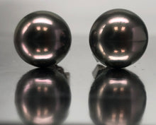Load image into Gallery viewer, Gorgeous Black Tahitian South Sea Pearl Studs