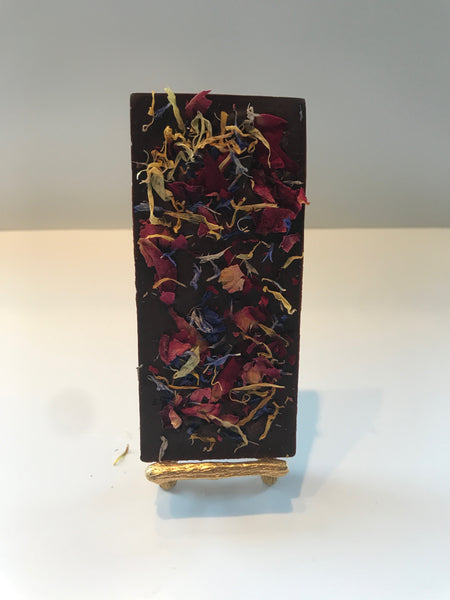 70% Dark Chocolate Bar with Flowers