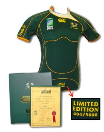 Springbok Rugby Jersey - Limited Commemorative Edition incl Cap discounted by 19% - gr8sportskits