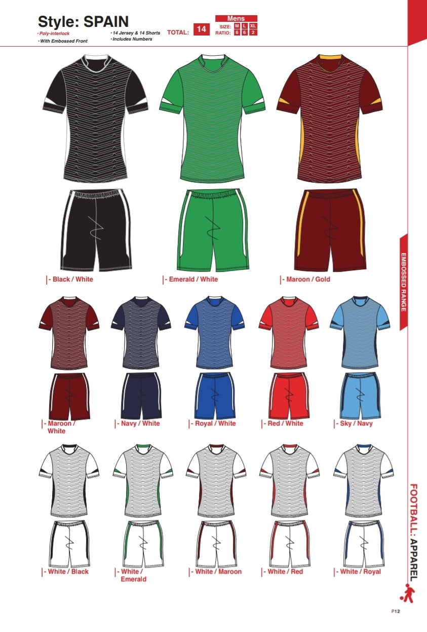 Soccer Kit Combo Basic Set - Spain Style - gr8sportskits
