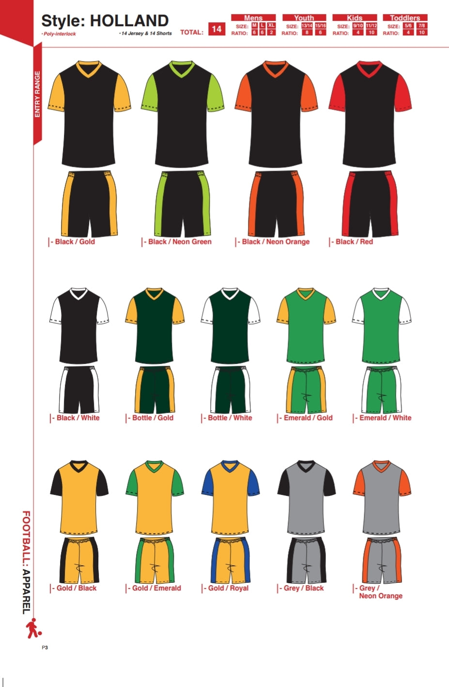 Soccer Kit Combo Basic Set - Holland Style Colour Chart A - gr8sportskits