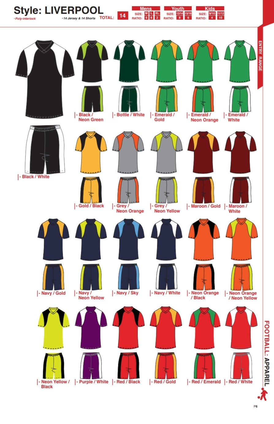 Soccer Kit Combo Basic Set - Liverpool Style Colour Chart A
