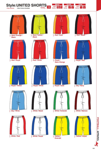 Shorts United Style - Soccer / Hockey (R60 each) - gr8sportskits