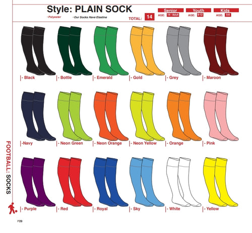 Socks Plain - Soccer / Hockey (R45 per pair each) - gr8sportskits