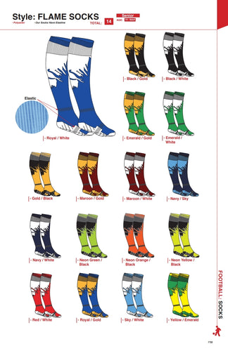 Socks Flame - Soccer / Hockey (R45 per pair each)