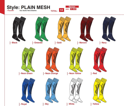 Socks Plain Mesh - Soccer / Hockey (R45 per pair each) - gr8sportskits