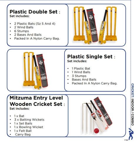 Cricket Equipment Plastic & Entry Level Wooden Sets - gr8sportskits