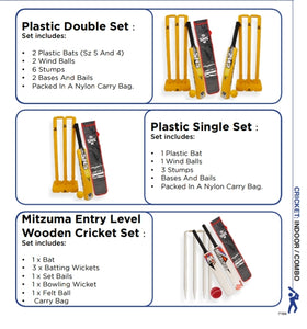 Cricket Equipment Plastic & Entry Level Wooden Sets