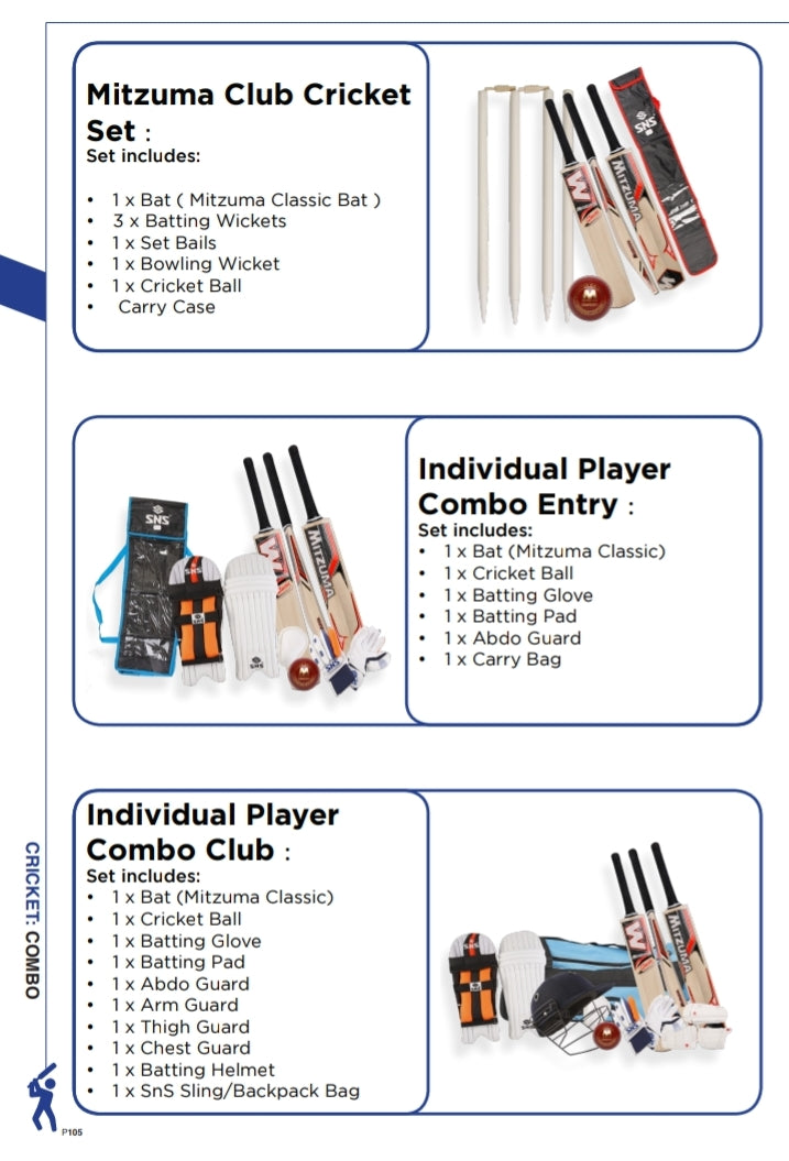Cricket Equipment Player Combo Entry & Club Sets - gr8sportskits