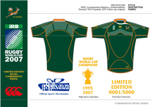 Load image into Gallery viewer, Springbok Rugby Jersey - Limited Commemorative Edition incl Cap discounted by 19% - gr8sportskits