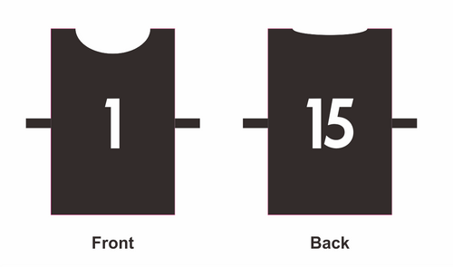 Bib - Set of 15 - Numbered 1-15 On Both Sides