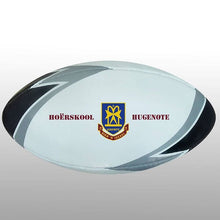 Load image into Gallery viewer, Rugby Ball Black/silver/white Size Midi - Ideal for Branding Your Logo On - gr8sportskits