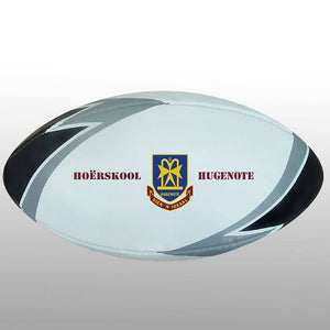 Rugby Ball Black/silver/white Size Midi - Ideal for Branding Your Logo On - gr8sportskits