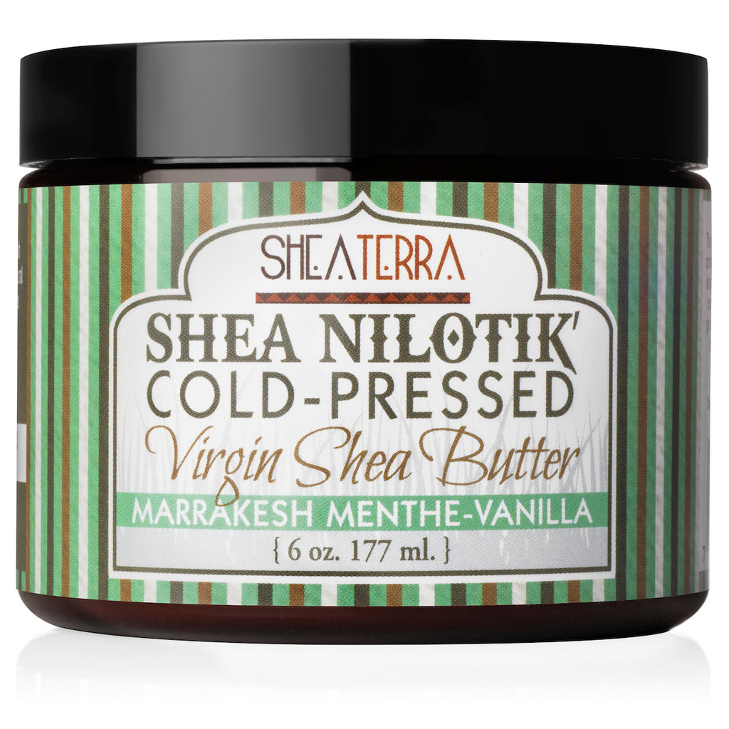 Shea Nilotik' Cold-Pressed Virgin Shea Butter MARRAKESH MENTHE-VANILLA  (6 oz.)