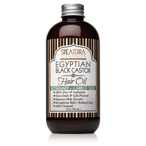 Egyptian Black Castor Hair Oil ROSEMARY CARROT-SEED 8 oz