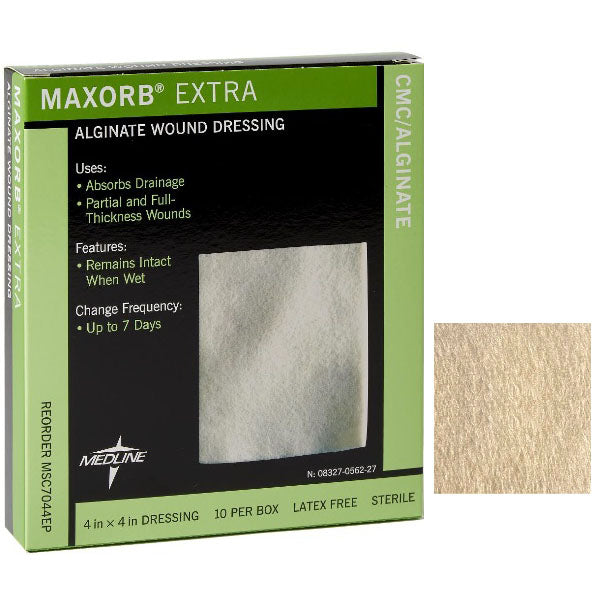 "Maxorb Extra Calcium Alginate Dressing, 4"" X 4"""