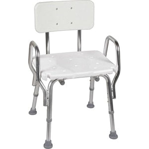 Shower Chair With Backrest, Aluminum Frame