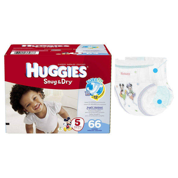 HUGGIES Snug and Dry Diapers, Size 5, BIG Pack, 66 Count