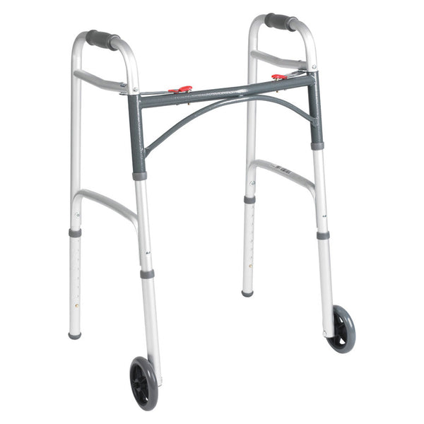 "Deluxe Adult Folding Walker, Two Button with 5"" Wheels, Assembled, 350 lb Weight Capacity"