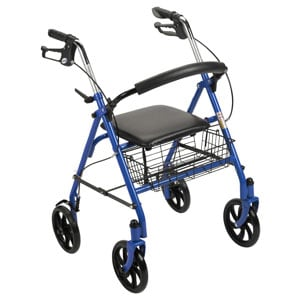 Drive Medical Durable 4-Wheel Rollator with Fold-Up Removable Back Blue