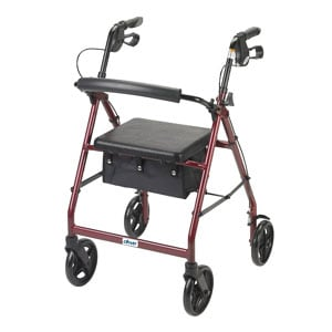 Drive Medical 4-Wheel Rollator 7.5 Casters Aluminum