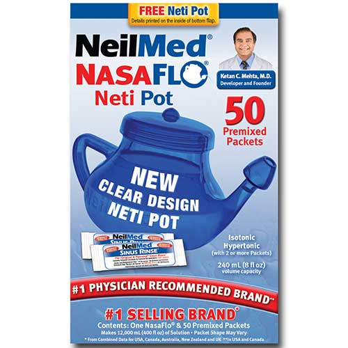 NasaFlo Neti Pot with Premixed Packets