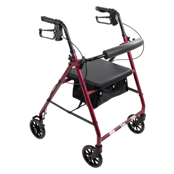 "ProBasics Aluminum Rollator, 6"" Wheels, Burgundy, 300 lb Weight Capacity."
