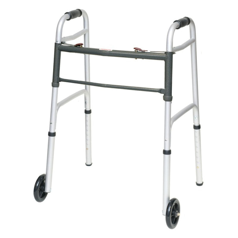 "ProBasics Two-Button Aluminum Walker with 5"" Wheels, Adult"