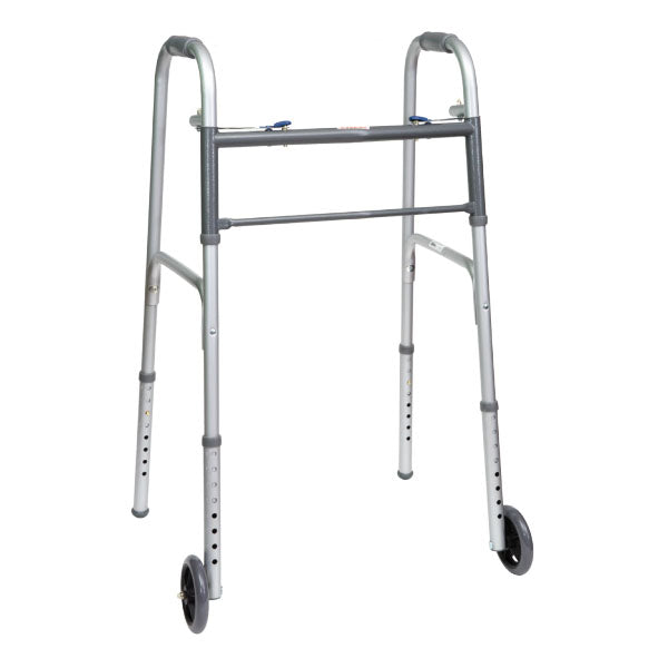 "ProBasics Economy Two-Button Steel Walker with 5"" Wheels, Adult."