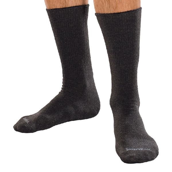 SmartKnit Seamless Diabetic Crew Socks with X-STATIC Latex-Free Materials, Black, Large