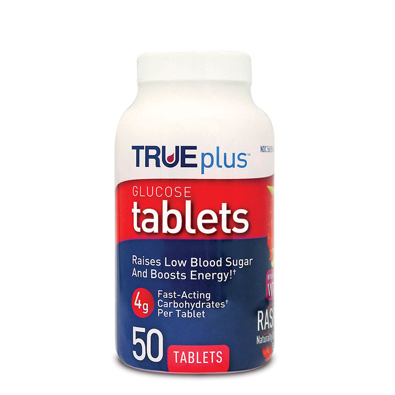 TRUEplus Glucose Tablets 50 count, Raspberry