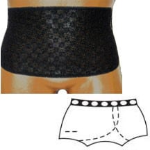 "OPTIONS Split-Lace Crotch with Built-In Barrier/Support, Black, Left-Side Stoma, Large 8-9, Hips 41"" - 45"""