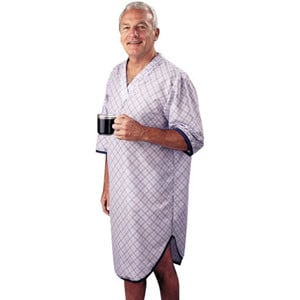 SleepShirt Men Patient Gown Blue Plaid