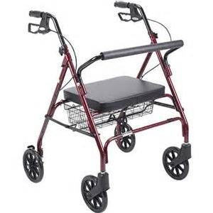 Drive Medical Durable 4-Wheel Rollator with Fold-Up Removable Back 8""