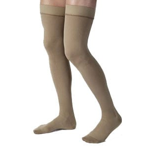 Men's Thigh-High Ribbed Compression Stockings X-Large, Khaki